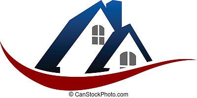 casa, símbolo, techo