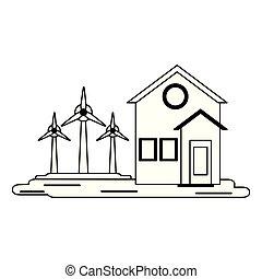 casa, símbolo, turbinas, pretas, branca, vento