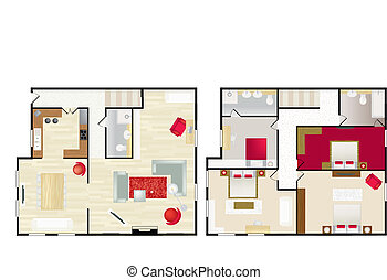 casa, s, floorplan, típico