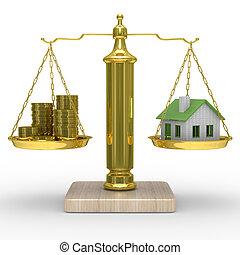 casa, scale., isolato, contanti, immagine, 3d