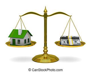 casa, scale., isolato, soldi, immagine, 3d