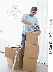 casa, scatole, cartone, uomo, nuovo