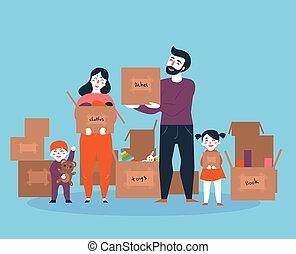 casa, scatole, spostamento, famiglia, nuovo