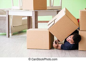 casa, scatole, uomo commovente