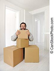 casa, scatole, uomo, spostamento, nuovo