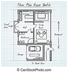 casa, schizzo, piano, pavimento