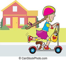 casa, scooter, menina