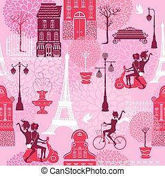 casa, scooter, meninas, seamless, bicicleta, padrão, montando