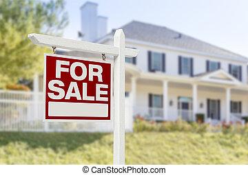casa, segnale vendita, davanti, casa nuova