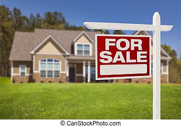 casa, segno vendita, nuovo, fronte, casa