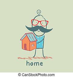 casa, segurando, homem
