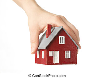 casa, segurando mão