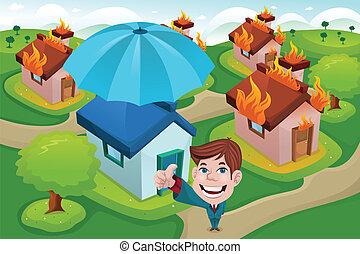 casa, seguro, concepto