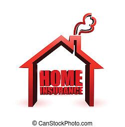 casa seguro, ilustración, diseño, gráfico