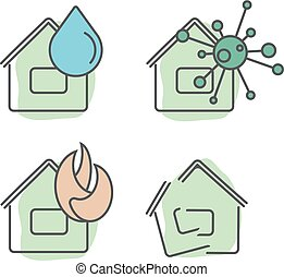 casa seguro, servicios, ilustración, conjunto, de, diferente, tipos, de, insurances, en, el, caso, de, diferente, tipos, de, asegurado, events., plano, iconos