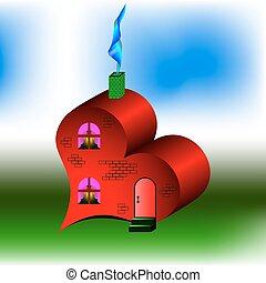 casa, semelhante, coração vermelho