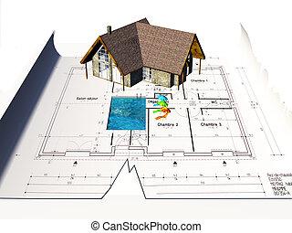 casa, sentando, ligado, desenhos técnicos