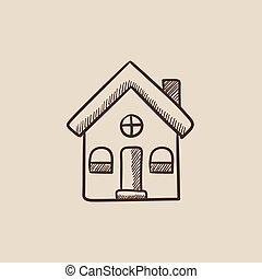 casa, separado, bosquejo, icon.