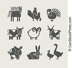 casa, set, animale, icona
