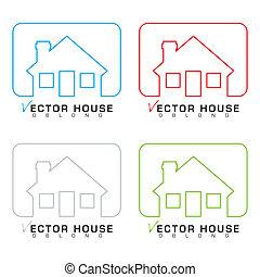 casa, set, contorno, icona