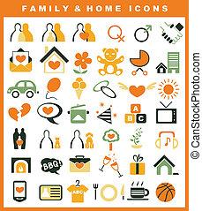 casa, set, famiglia, icone
