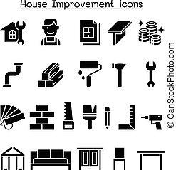 casa, set, miglioramento, icona