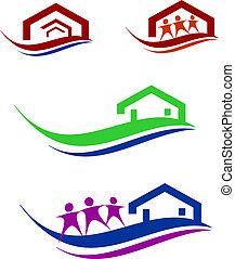 casa, set, persone, logotipo