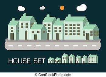 casa, set, tono verde, concetto