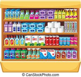 casa, shelfs, químicos