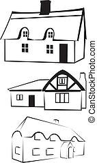 casa, -, silhouette, architettura
