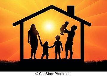 casa, silhouette, famiglia, felice