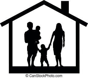 casa, silhouette, famiglia