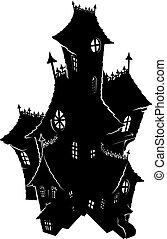 casa, silhouette, halloween, frequentato, sinistro