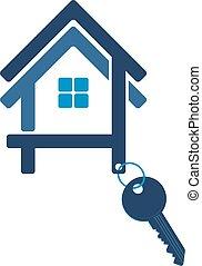 casa, silueta, llave