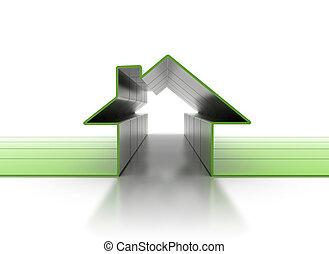 casa, simbolo, 3d