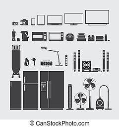 casa, simbolo, apparecchi