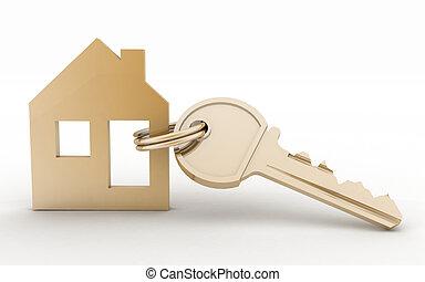 casa, simbolo, chiave, modello, set, 3d