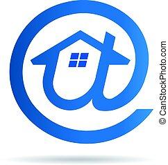 casa, simbolo, -, idea, logotipo, email