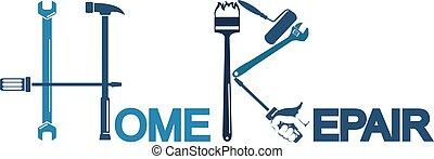 casa, simbolo, riparazione