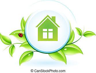 casa, simbolo, verde