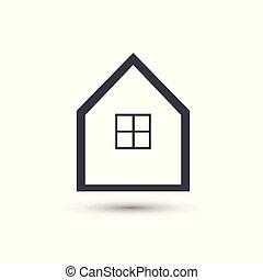 casa, simbolo, vettore, casa, linea, icon.
