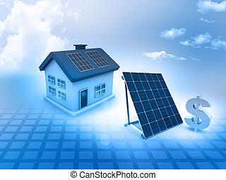 casa, sinal dólar, solar, painéis