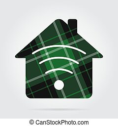 casa, sinal, -, isolado, pretas, tartan, verde