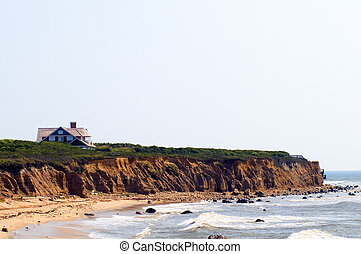casa, sobre, longo, oceânicos, mansão, atlântico, york, ilha, montauk, novo, penhascos, praia