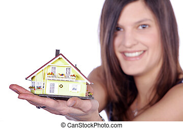 casa, sobre, mulher, mãos