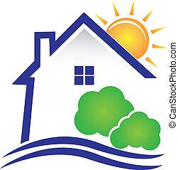 casa, sol, e, arbustos, logotipo