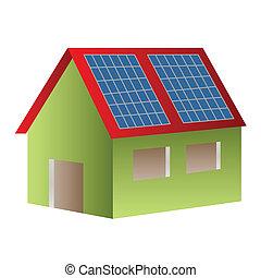 casa, solar accionado