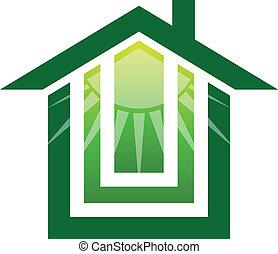 casa, solare, logotipo