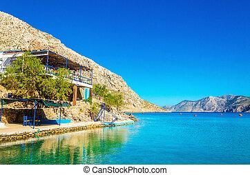 casa, sopra, baia, greco, terrazzo, mare, grecia