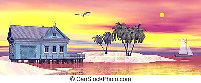 casa, spiaggia, -, render, 3d